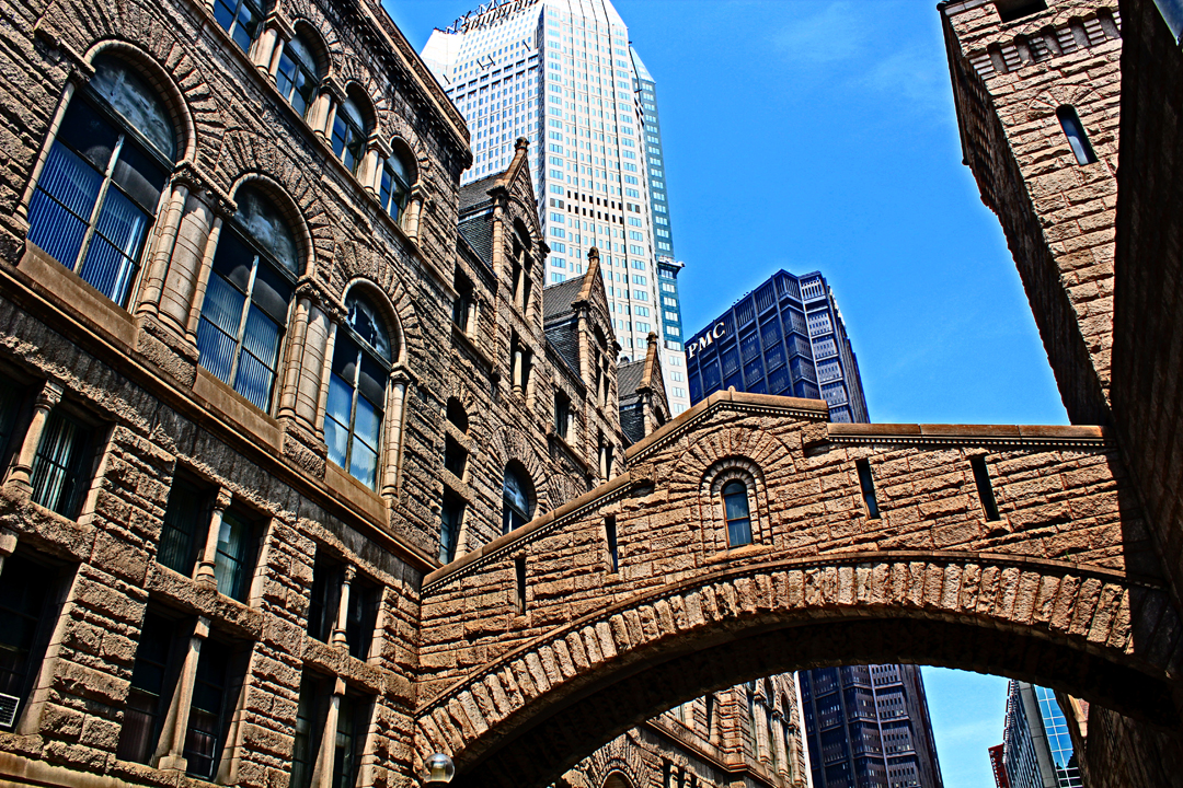 Allegheny County Courthouse, Old Jail, and the 'Bridge of Sighs'