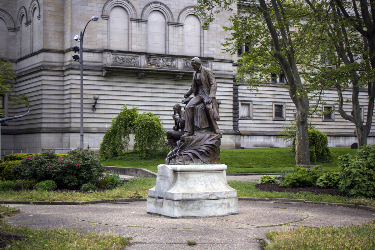 'Stephen Foster' sculpture in front of Carnegie Museum in Oakland neighborhood of Pittsburgh